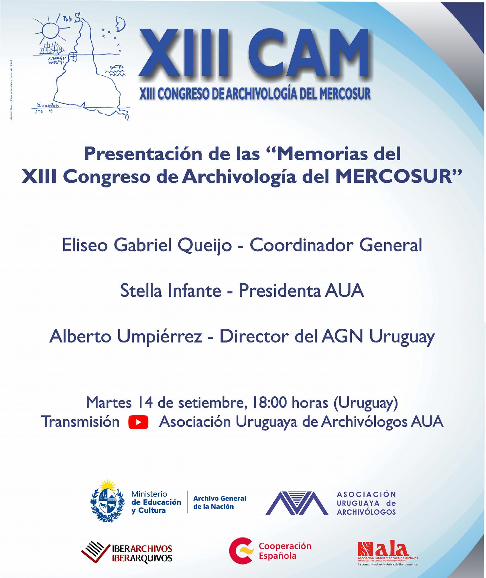Afiche presentación de las Memorias del XIII CAM