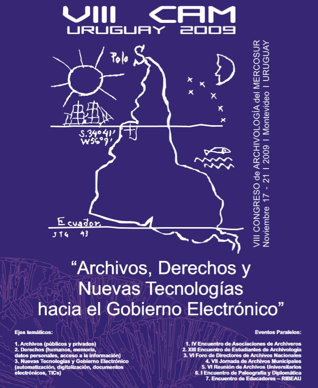 afiche del octavo congreso de archivología del MERCOSUR