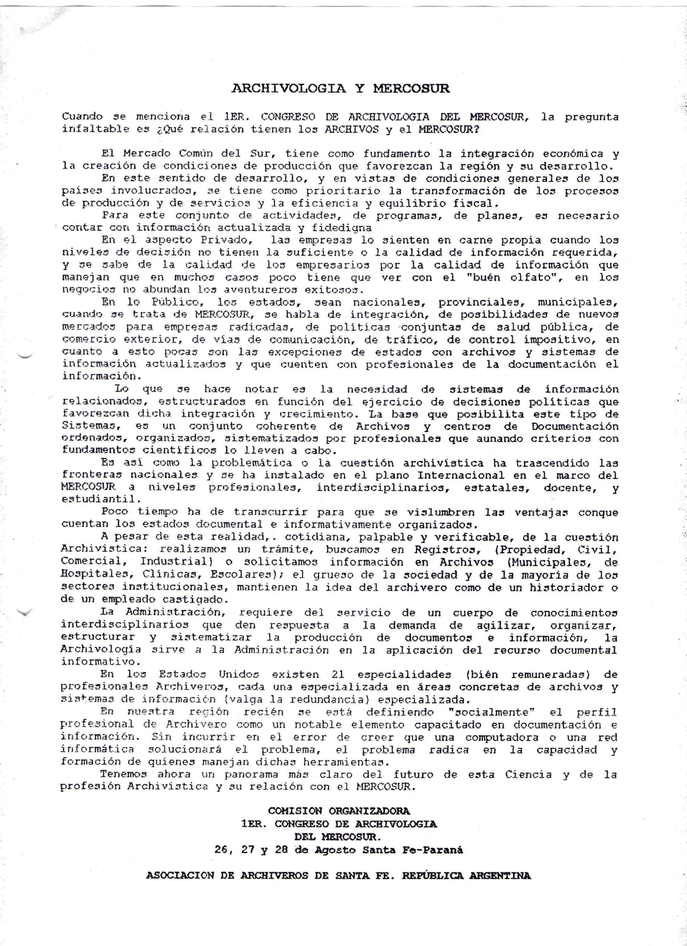 texto archivología y MERCOSUR